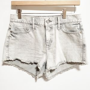 ABERCROMBIE AND FITCH Gray Distressed Hem Shorts